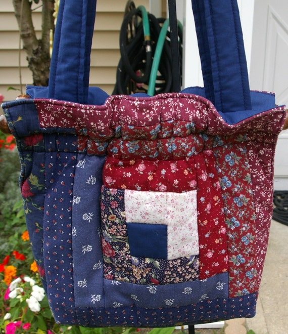 Amish Quilted Handbag Tote With Shoulder Straps Handmade