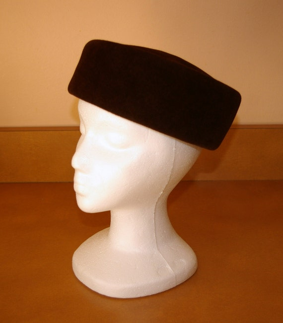 1950's  Brown Hat Peachbloom  Pill Box Style  Merrimac Body Imported Fur  UHC & MWIU On Sale this week