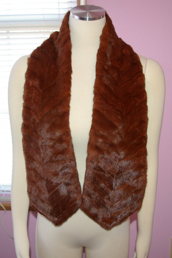 Vintage Fur Scarf or Shawl 1950's 1960's Shiny  Reddish Brown On Spring SALE