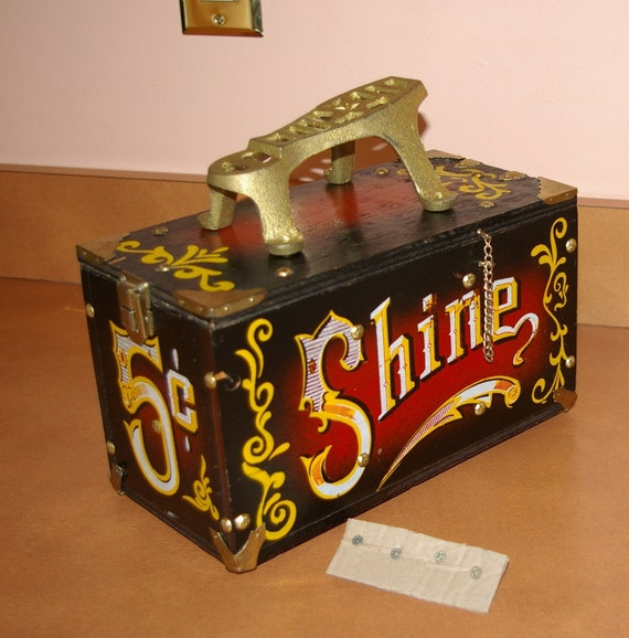 Shoe Shine Box 5 Cents  Vintage Wooden 1970's  Just Reduced Summer SALE