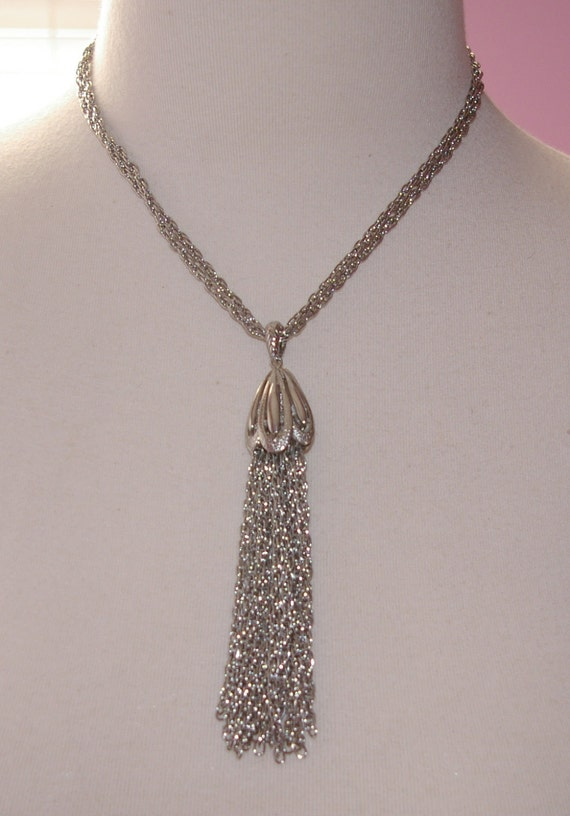 Tassel Necklace with Double Strand Chain  Silver Tone Vintage 1970's 1980's