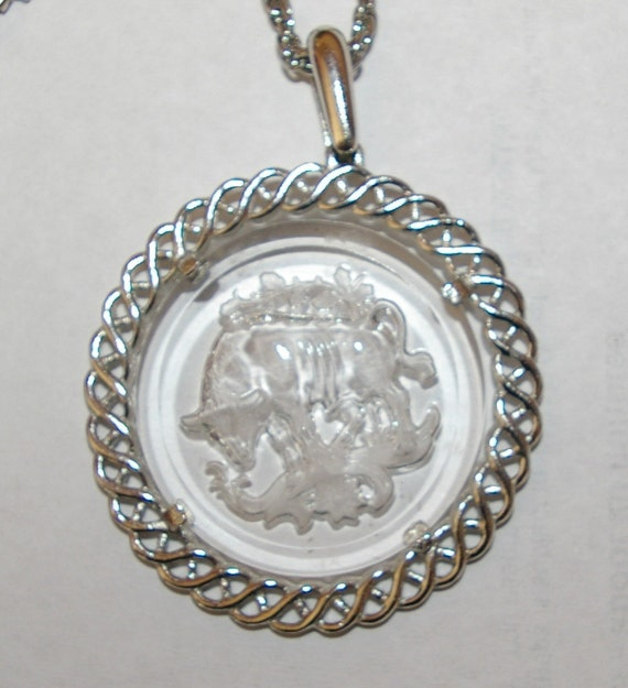 Taurus Zodiac Necklace Signed Trifari Intaglio  Crown Signed Stamped on top of T Vintage 1970's
