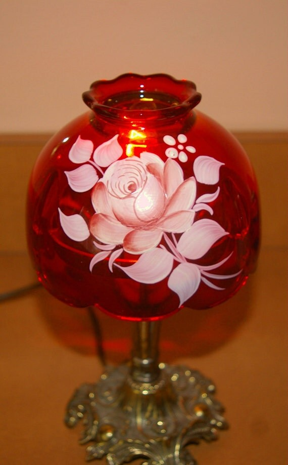 Red Glass Table Lamp  Hand Painted and Signed  L and L WMC Vintage 1973 Use 15% Off coupon at check out