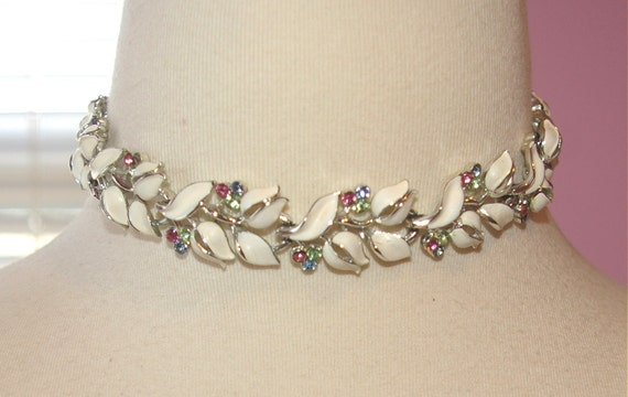 White Choker Signed Lisner with Pretty Pink Blue Green Rhinestones Vintage On Holiday SALE