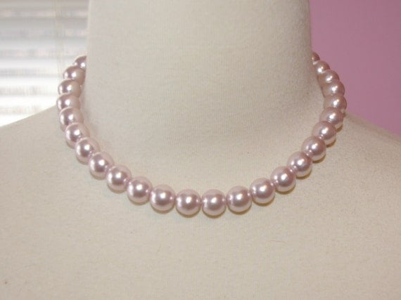 Pastel Pink Pearl Choker Collier Vintage 1980's On Summer SALE