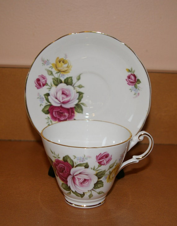 China Cup and Saucer Set  Roses  By Regency English Bone China England Vintage 1950's 1960's