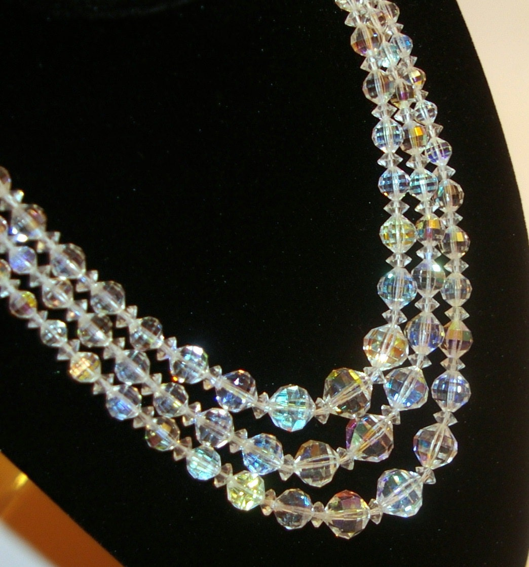 Austrian Crystal Necklace Signed Laguna Triple Strand