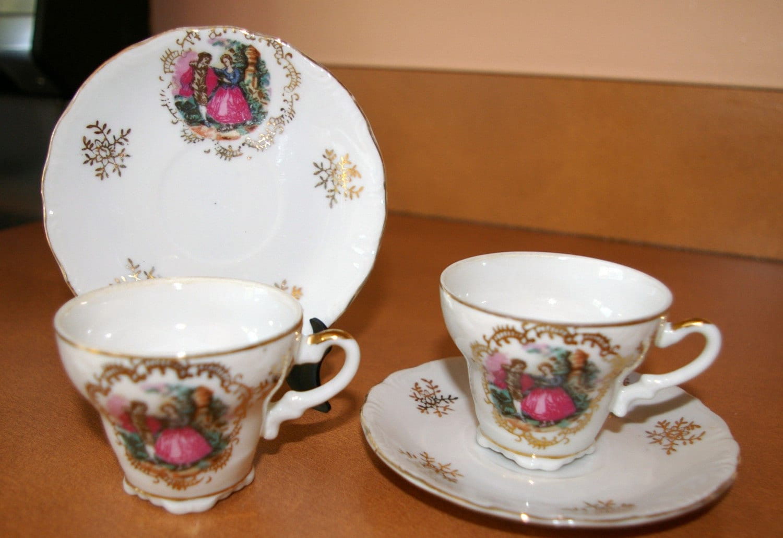girls fine china tea set arnart courting couple 4 pieces. Black Bedroom Furniture Sets. Home Design Ideas