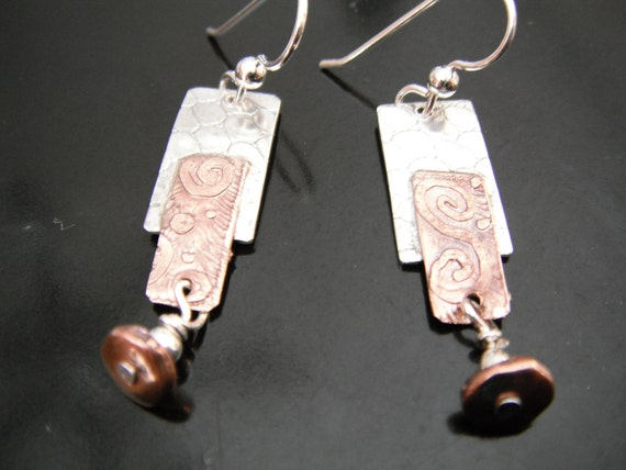 Sterling Silver and Etched Copper Earrings with copper and silver beads