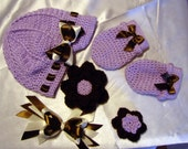 Custom crocheted hat and mitten set  6 pieces nb-adult