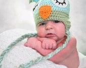 Crochet owl earflap hat or photoprop