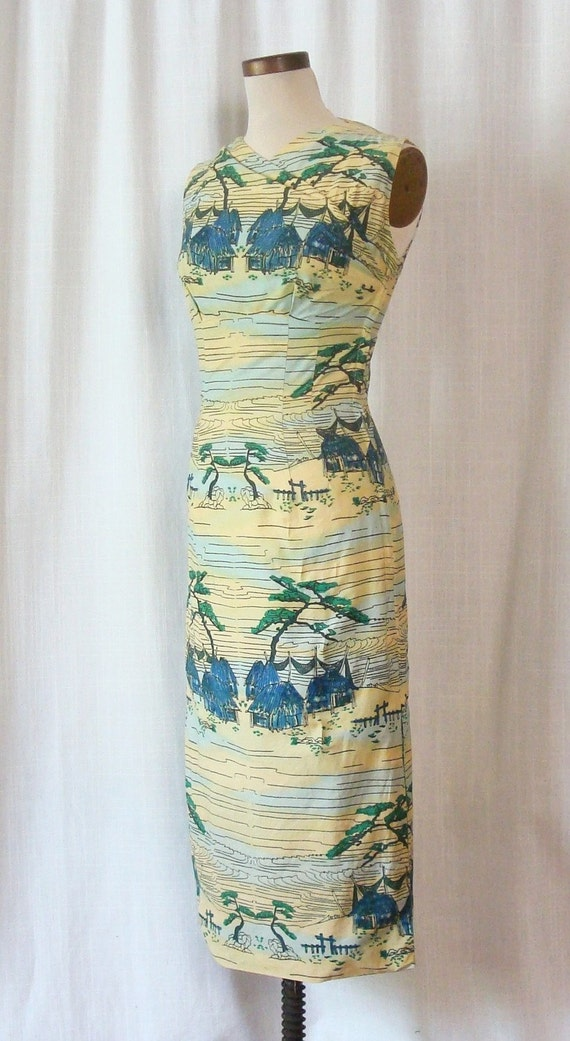 Vintage 1950s Cotton Border Print Wiggle Dress IRENE