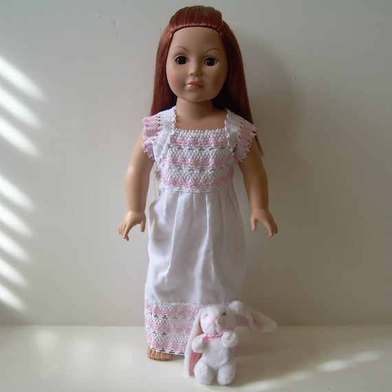 Lace-edged Nightgown and Bunny for American Girl and Other 18 Inch Dolls