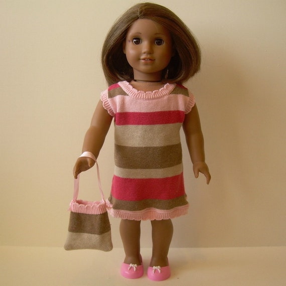Knit Dress, Purse and Shoes for American Girl and Other 18 Inch Dolls