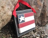 HANGING FLAG with ribbon for July 4th, wall, door hanger, and americana home decor