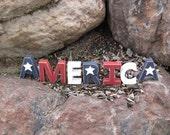 AMERICA BLOCKS for July 4th, shelf, desk and Americana home decor