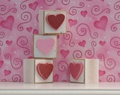 SQUARE BLOCKS with red, pink, and hot pink HEARTS for valentine and home decor