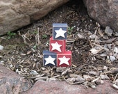 4 STAR BLOCKS for July 4th, shelf, desk, office and americana home decor