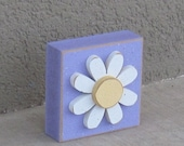Purple 3-1/2 inch SQUARE DAISY BLOCK for Easter, Spring, girl room and home decor