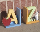 A to Z bookends for children library, bookshelf, Apple, Zebra