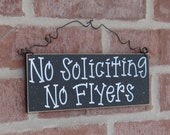Free Shipping - NO SOLICITING No Flyers SIGN (black) for home and office hanging sign