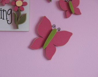 7 inch HOT PINK BUTTERFLY for wall hanging bedroom, home or girl room decor