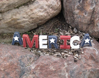 AMERICA BLOCKS for July 4th, shelf, desk and Americana home decor