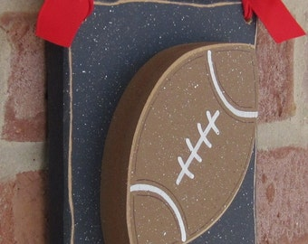 6 Inch HANGING FOOTBALL with red ribbon for boy, wall, door hanger, and bedroom home decor
