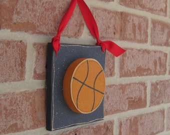 6 Inch HANGING BASKETBALL with red ribbon for boy, wall, door hanger, and bedroom home decor