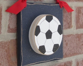 6 Inch HANGING SOCCER BALL with red ribbon for boy, wall, door hanger, and bedroom home decor