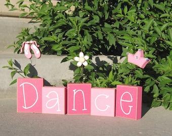 DANCE BLOCKS for children, girl, home, desk, shelf, bedroom, ballet, princess, crown, decor