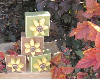 AUTUMN SQUARE Blocks With SUNFLOWERS for Fall, shelf, office, desk, mantle, gift and home decor