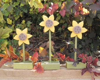 3 STANDING SUNFLOWER SET for Autumn, Fall, shelf, desk, office and home decor