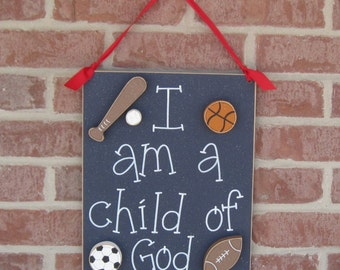 CHILD OF GOD (blue) for boy bedroom and wall hanging decor with sports theme