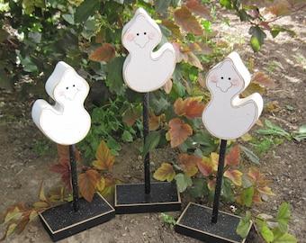 HALLOWEEN GHOST BLOCK Set 3 Tall Standing for Halloween, October, Fall, Autumn, shelf, desk, office and home decor