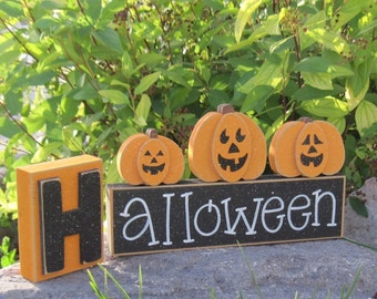 HALLOWEEN BLOCKS for home, desk, shelf, mantle, holiday, october, jackolantern, pumpkin, decor