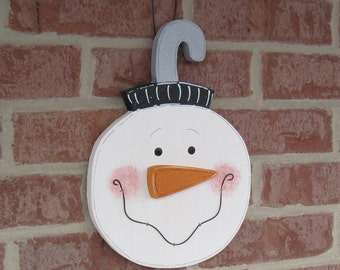 Large Hanging SNOWMAN FACE ORNAMENT for winter, christmas, noel, December, door, wall hanging and home decor