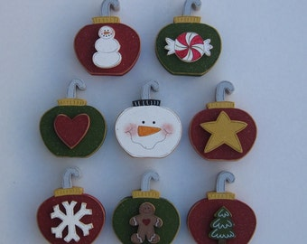 CHRISTMAS ORNAMENT Blocks Set  -Set of 8 for the price of 7- for Noel, shelf, desk, office, mantle and home decor
