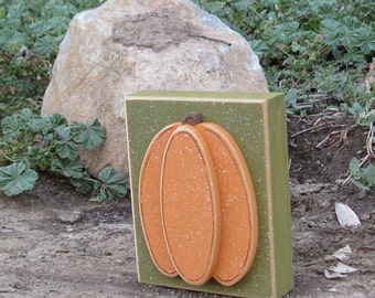 HARVEST PUMPKIN BLOCK for Thanksgiving, Autumn, Fall, holiday, shelf, desk, office, mantle and home decor