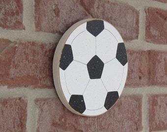 HANGING SOCCER BALL for boy, wall, sports theme room, man cave, and bedroom home decor