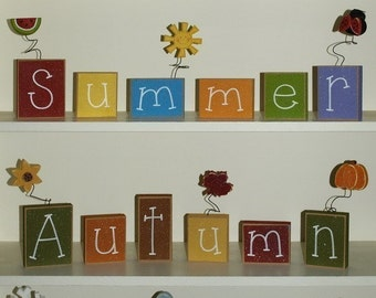 SEASON BLOCKS for winter, spring, summer, autumn, fall,shelf, mantle, mothers day and home decor