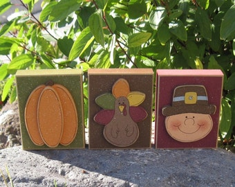 THANKSGIVING BLOCK SET for harvest, holiday, shelf, desk, table, office, mantle and home decor
