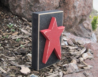 TALL STAR BLOCK for July 4th, shelf, desk, office and americana home decor