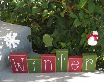 WINTER BLOCK SET with Christmas colors for shelf, mantle, office, seasons, home, and holiday decor.