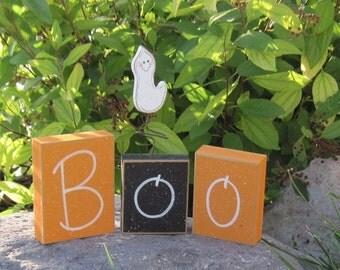 HALLOWEEN BOO BLOCKS for home, desk, shelf, mantle, holiday, october, jackolantern, pumpkin, decor