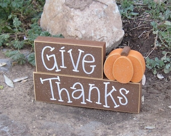 GIVE THANKS BLOCKS with a pumpkin for desk, shelf, mantle, holiday, November, Thanksgiving, and home decor