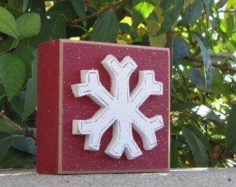 Snowflake block for Winter, Christmas, Noel, shelf, desk, office, mantle and home decor