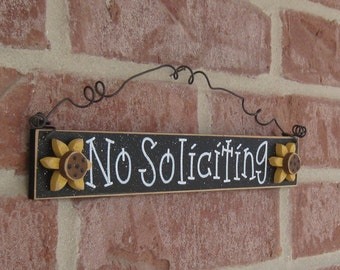 Free Shipping NO SOLICITING SIGN with 2 sunflowers (black) for home and office hanging sign