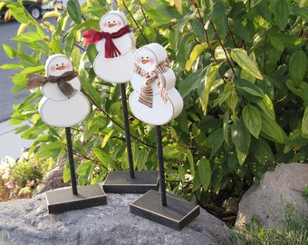 3 Tall Standing SNOWMAN BLOCK SET for Winter, Christmas, December, January, shelf, desk, office and home decor
