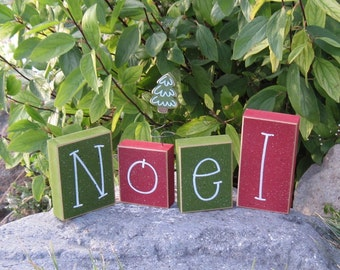 CHRISTMAS NOEL BLOCKS for home, desk, shelf, mantle, holiday, tree decor